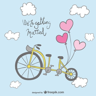 結婚式の招待状の自転車のデザイン