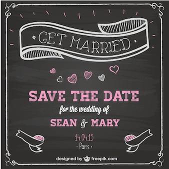 結婚式の招待状の黒板の設計