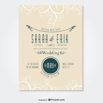 レトロな結婚式のカードスワールデザイン