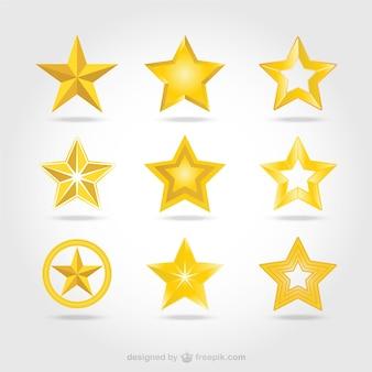 Векторные золотые звезды иконки