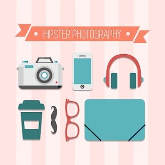 ヒップスターの写真撮影のベクトルフリー設計
