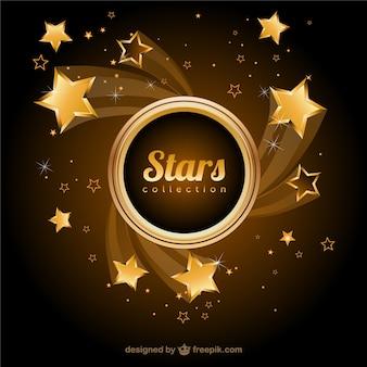 Фон золотые звезды вектор