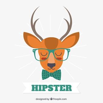 ヒップスタースタイルのベクトルを着て鹿