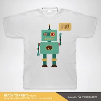 Шаблон вектор робот футболку