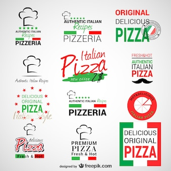 Пиццерия логотипы установить