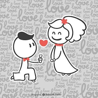 かわいい漫画の結婚式のテンプレート