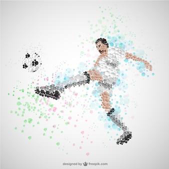 ボールベクトルを蹴るサッカー選手