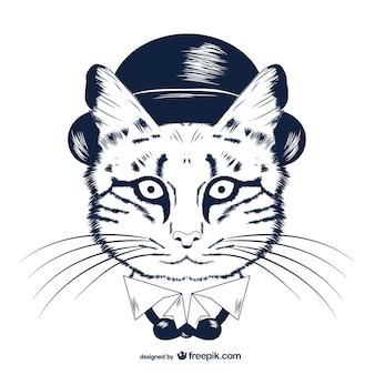 山高帽でのヒップスターの猫