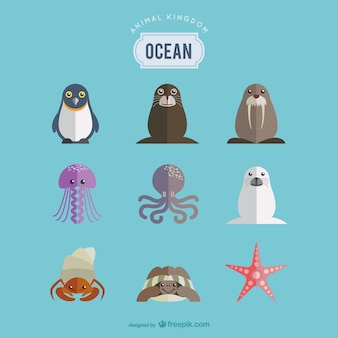 海の動物がセット
