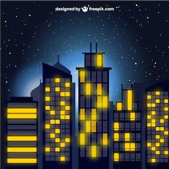 Город в ночное вектора