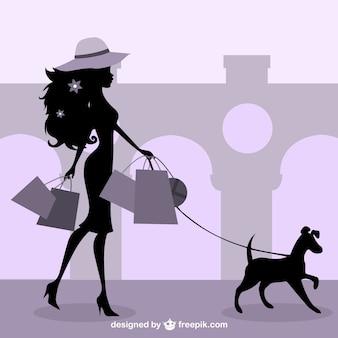 スタイリッシュなファッションの女の子のショッピング