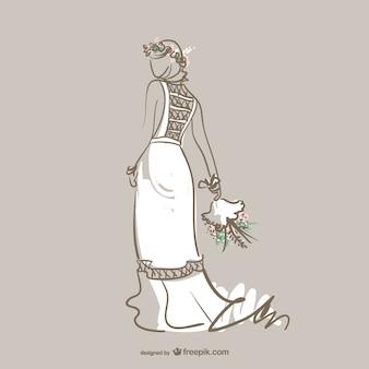 ウェディングドレスのファッションベクトル