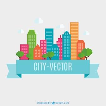 Город вектор плоская конструкция