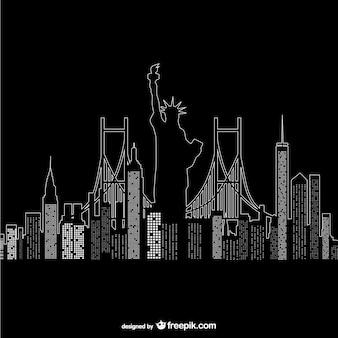 Нью-йорк в ночное время вектор
