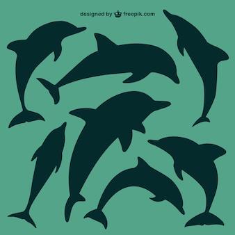 Дельфины силуэты набор