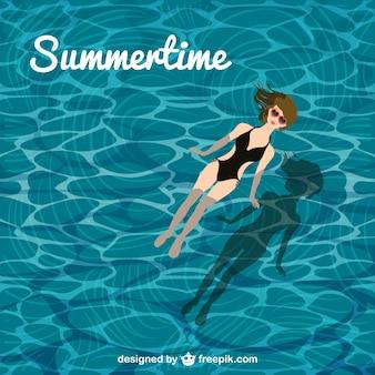 夏のプールの女の子