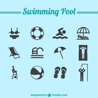 プールのアイコンを泳い