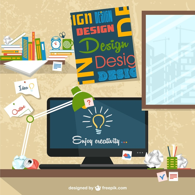 Рабочее пространство плоским иллюстрации дизайнера