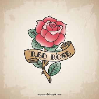ビンテージ赤い刺青バラ