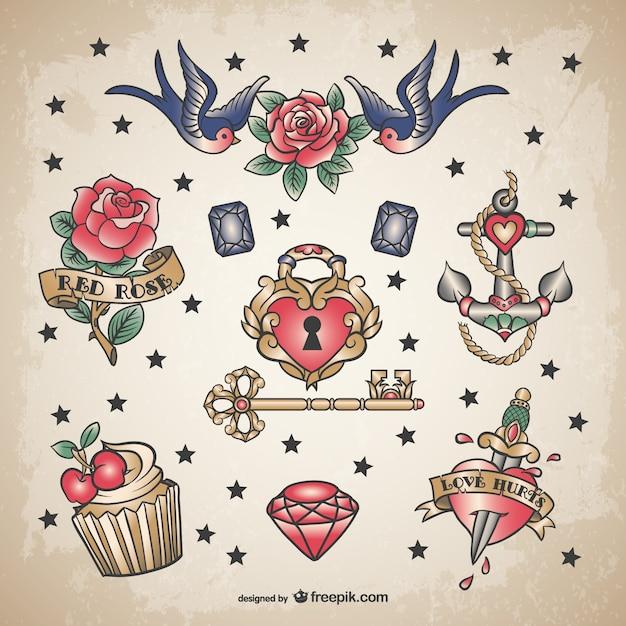 古典的な愛のタトゥーセット