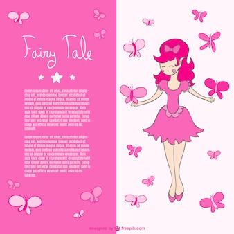 ピンクの蝶の妖精のベクトル