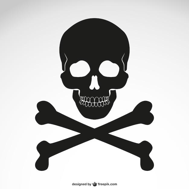 Вектор скрещенными костями значок черепа