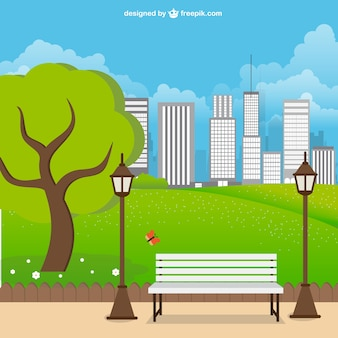 都市公園の風景ベクトル