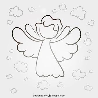 天使の線画ベクトル