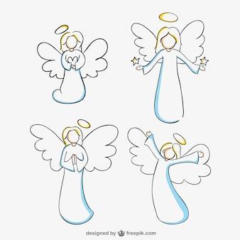 天使たち線画ベクトルグラフィック