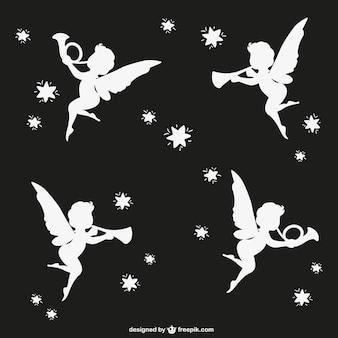 Ангелы силуэты вектор