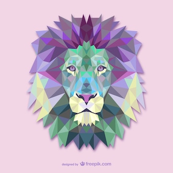 ベクトル三角形のライオンのイラスト