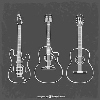 ギター、ラインアートとイラスト