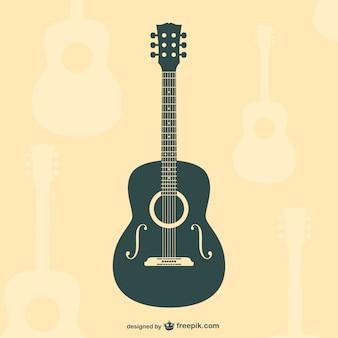 Гитара плоским силуэт вектор