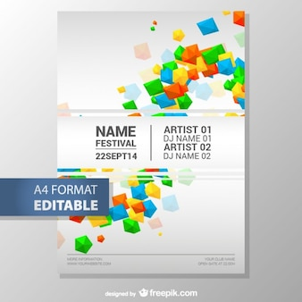 カラフルな幾何学的な編集可能なポスターのテンプレート