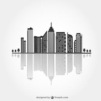 Городской черный силуэт с рефлекса