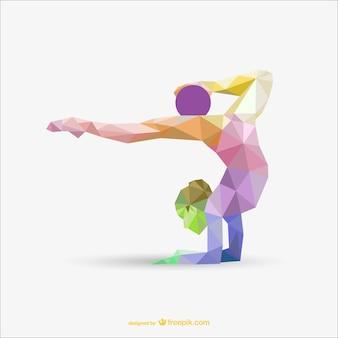 По художественной гимнастике женщина с мяч треугольника цветового оформления