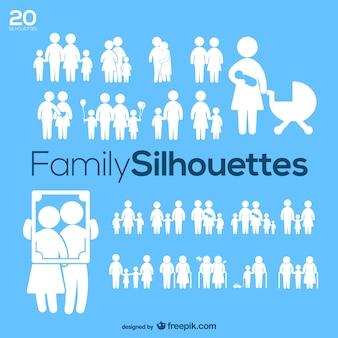 家族のシルエットベクトルパック