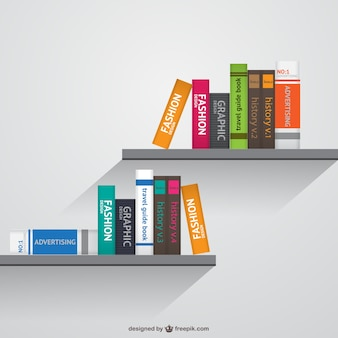 Книжные полки реалистично векторные