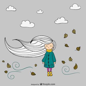 Вектор осенью девочка