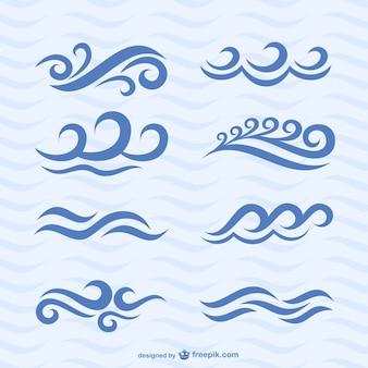 Векторный набор волна иконки