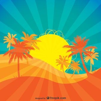 Тропический восходящего солнца вектор.