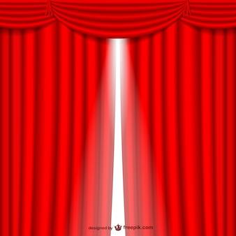 赤いカーテン開閉
