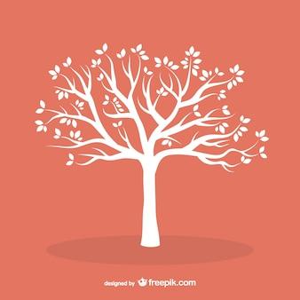 Белое дерево с листьями