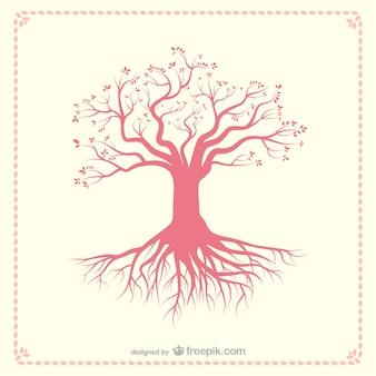 ルーツを持つ木のシルエット