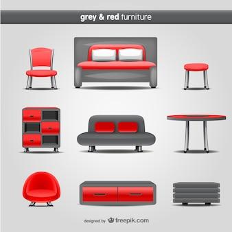 グレーと赤の家具ベクトル