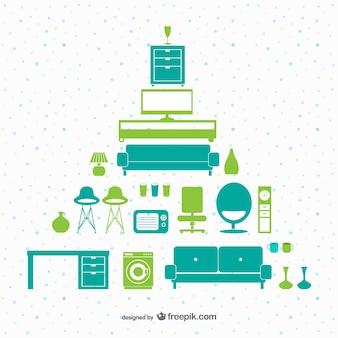 緑と青緑色の家具パック