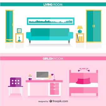 リビングルームと女の子の部屋