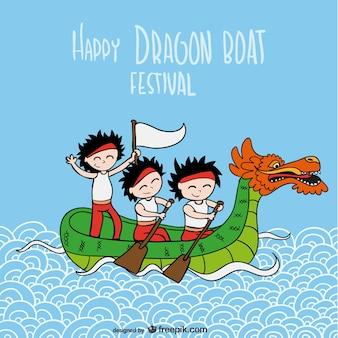 Праздник лодок-драконов вектор