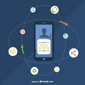 スマートフォンとソーシャルネットワークのイラスト