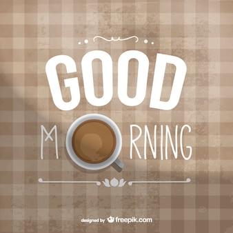Доброе утро типография с кофе